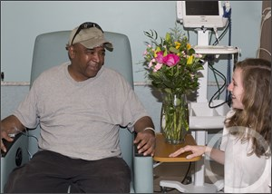 Katie Moss donates flowers to Danny Talbott Cancer Center