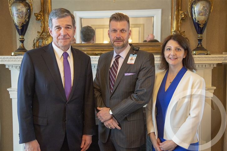 L.Lee Isley, center, president and CEO of Nash UNC Health Care, met with Gov. Roy Cooper and Health and Human Services Secretary Mandy Cohen last week to discuss Medicaid Reform in the state.